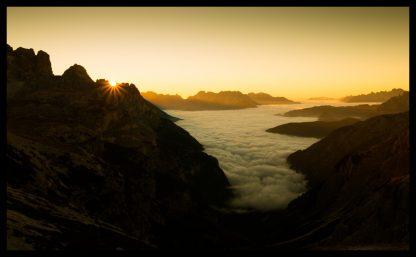 Východ slunce v Dolomitech u Tre Cime, Prodej fotoobrazů Dlouhá Trať, Fotograf Lukáš Budínský, podpora Mamma HELP