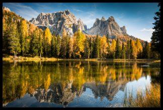 Podzimní jezeru Misurina pod Tre Cime, Prodej fotoobrazů Dlouhá Trať, Fotograf Lukáš Budínský, podpora Mamma HELP