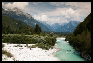 Řeka Soča v Julských Alpách. Prodej fotoobrazů Dlouhá Trať, Fotograf Lukáš Budínský, podpora Mamma HELP
