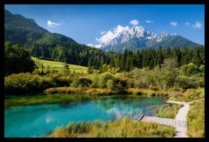 Jezero Zelence v Julských Alpách. Prodej fotoobrazů Dlouhá Trať, Fotograf Lukáš Budínský, podpora Mamma HELP